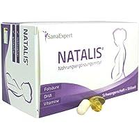 SanaExpert Natalis, Nahrungsergänzung mit DHA, Folsäure, Eisen, Vitamine bei Kinderwunsch, Schwangerschaft und Stillzeit, 90 Kapseln (67 g)