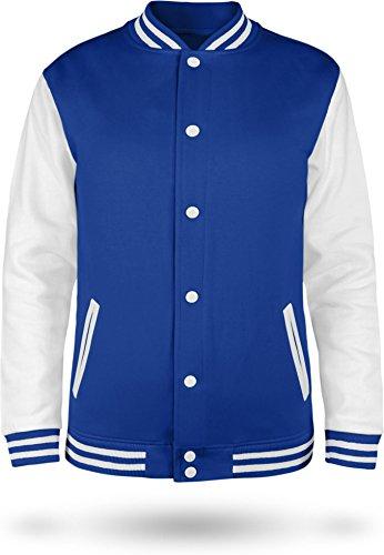 Kinder College Jacke für Jungen und Mädchen mit Ärmeln in Kontrastfarben Farbe Royal/White Größe 7-8 (128)