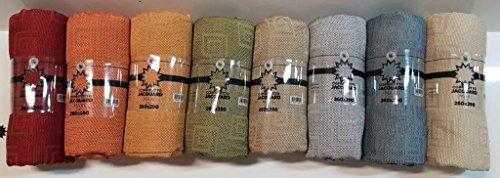 Telo arredo copritutto 260x290 cm tessuto jacquard effetto canapa multiuso gran foulard copridivano copripoltrona - fantasia tinta unita con greca - rosso arancione giallo verde panna beige grigio blu