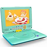 COOAU 12' Portable DVD Player, CD Player, 5h Rechargeable Battery with Indicator, Front Control Button, 360° Swivel Screen, Support Full Format Discs, TF Card, USB, Resume Playback, Region Free, Blue