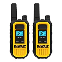 DeWalt DXPMR300 Heavy Duty Professional Walkie Talkie PMR Radio with Up to 10 Floors/8km Range, License Free - Black and Yellow