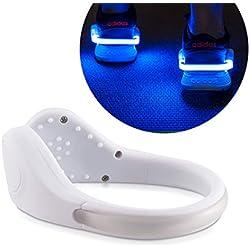 kwmobile 2X Clip LED para Zapatilla - Clips de luz para Zapatillas para Ciclismo Correr Caminar Senderismo - Shoe Clips con Luces en Blanco Azul