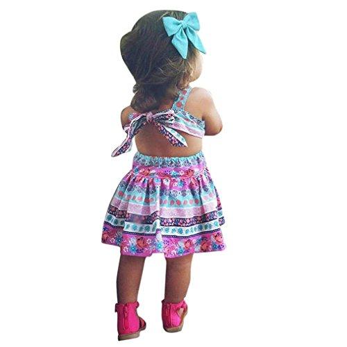 UOMOGO® Vestito stampato floreale imbottigliato delle ragazze - Vestito da principessa per il bambino in pizzo di estate del bambino vestiti (Età: 4-5 Anni, Rosa)
