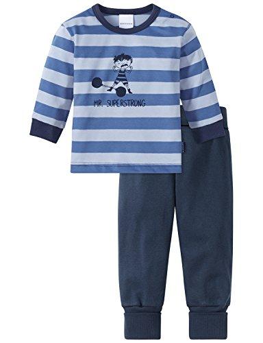 Schiesser Baby-Jungen Zweiteiliger Schlafanzug Zirkus Strong Boy Anzug Lang 2-Teilig Blau (Blau 800), 92 (Herstellergröße: 092)