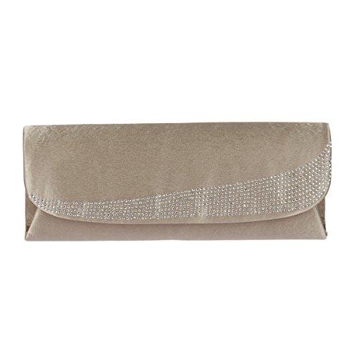 Edel Abendtasche Satin mit Nieten oder Strass Clutch Henkeltasche Bag Handtasche Tasche von H&D Gold Strass