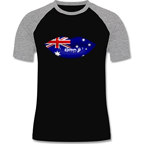 Länder - Lippen Bodypaint Australien - zweifarbiges Baseballshirt für Männer Schwarz/Grau Meliert