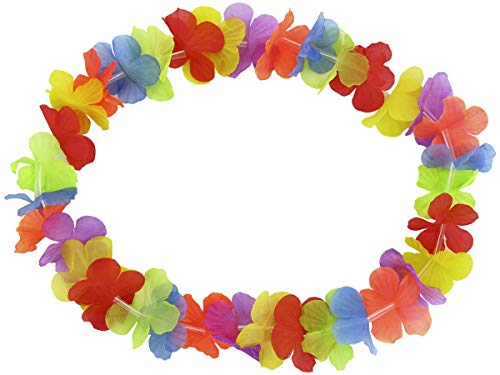 Bon Choix Lot de 10 Colliers De Fleurs Hawaïen Multicolore Accessoire Décoration Fête Beach Party Eté Plage Printemps ambiance tropique déguisement soirée hawaienne fête