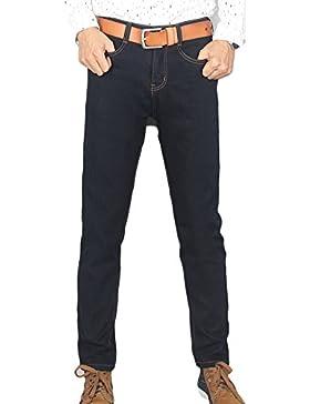 Vita Alta Jeans Da Uomo Pantaloni Tempo Libero Straight Pantaloni Elasticizzati Denim Pantalon Nero 42