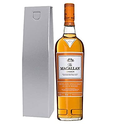 The Macallan 1824 Amber Single Malt Whisky 70cl Bottle in Silver Gift Box with Happy Mothers Day Gifts2Drink Tag