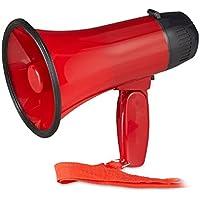 Relaxdays 10022829 Megafono per Tifosi, Altoparlante in plastica per Feste e Stadio, 10 watt, HxLxP: 21 x 13,5 x 22 cm, Rosso