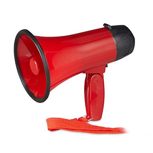adion, Megaphon mit Ole Sound, Bullhorn mit klappbarem Griff und Schlaufe, Kunststoff, 10 Watt, rot ()