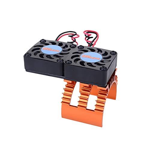 TwoCC Kit Accessori, Superare Radiatore Hobby Doppio Ventilatore Dissipatore di Calore Motore Ventole di Raffreddamento per Motore Auto 1/10 Hsp Rc (Arancione)