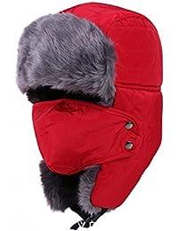 82b09ef317147 DELEY Hombres Mujeres Rusia Soldado Otoño Invierno Cálido Oído Solapa  Cortavientos Sombrero Cazador Bombardero Esquí