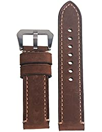 WEONE 22mm Brown Vintage Genuine Leather Watch Strap Watchband Wristwatch Band with Silvery Buckle