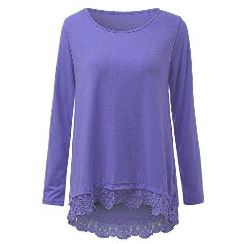 DoubleYI Damen Blousen Langarm mit Lace Freizeit Lose Tunika T-Shirt Oberteil Tops Lila