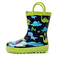 Apakowa Kids Boys Girls Dinosaur Printed Wellington Rain Boots Rainy Rubber Shoes with Easy On Handles for School, Walking, Travelling, Outdoors (Color : 1901 Dinosaur, Size : 9 UK Child)