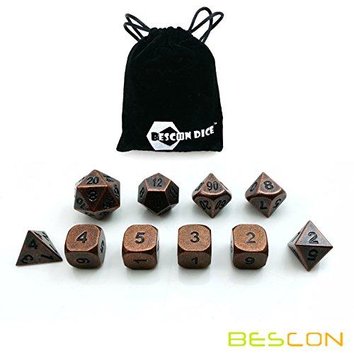 Bescon 10 Stück Antike Kupfer Solide Metall Polygonal Würfel Spielwürfel Würfeln für DND Dungeons und Dragons, Antique Copper Metallic RPG - Rollenspiel Polyedrische Dice 7+3 Extra D6s' -