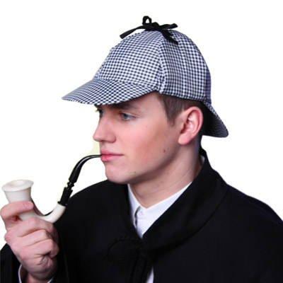 PARTY DISCOUNT KES51078-ZY Hut Detektiv, schwarz-weiß kariert (Schwarz Und Weiß Karierte Hut)