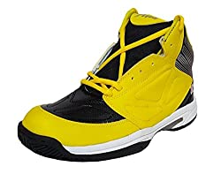 xAQUA Basketball Black and Yellow Basketball Shoes for Men Boys Women Girls Junior PU Material Non Marking Sole Outdoor Indoor Playing - Best in Running Walking Sports Jogging (6 INDIA/UK)