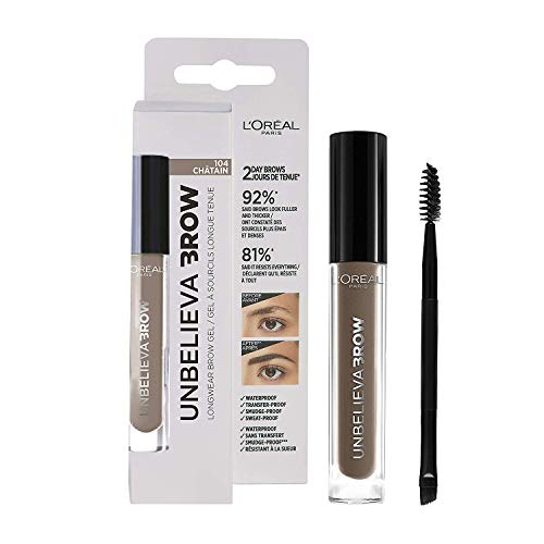 L'Oréal Paris Unbelieva Brow Gel De Cejas, Larga Duración, 104 Chatain, 3.4ml