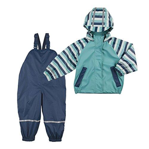 Bornino Bornino Regenanzug 2-teilig/Baby Basics/Regenhose mit Reflektorstreifen/Regenjacke/türkis/Marine