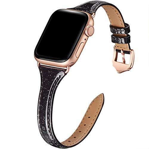 WFEAGL Kompatibel mit Apple Watch Armband 40mm 38mm, Mehrfache Farben Slim Leather Ersatzband mit Edelstahl-Verschluss für Watch Serie 4/3/2/1 (38mm 40mm,Glänzend Schwarz+RoséGold Adapter) Apple Farbe