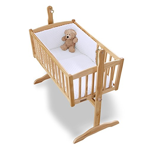 Clair de Lune Steppdecke und Bettumrandung für Kinderbett / Wiege, Noppenmuster, Weiß