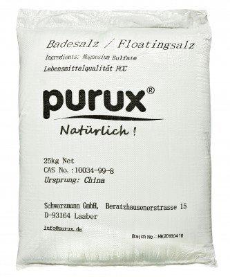 Purux Epsom Salz 25kg Bittersalz Magnesiumsulfat dermatologisch getestet Badesalz