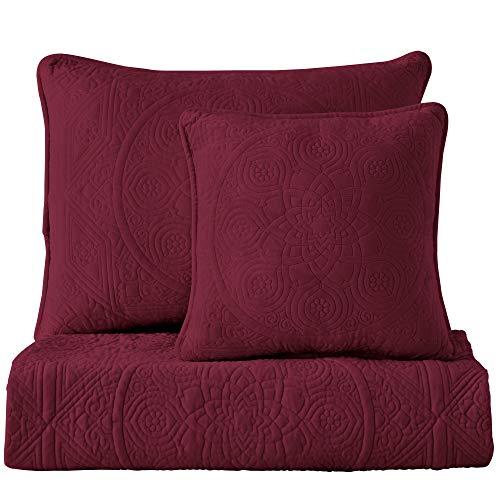 Maison Atlas Charlotte Bettwäsche-Set aus Samt Charlotte Charlotte Quilt,Twin burgunderfarben