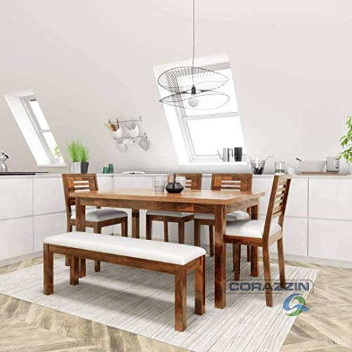 Corazzin Wood Sheesham Wood Dining Table 6 Seater | Wooden Dining Room Furniture | 4 Chairs with Cushion and Bench | Natural Honey Finish