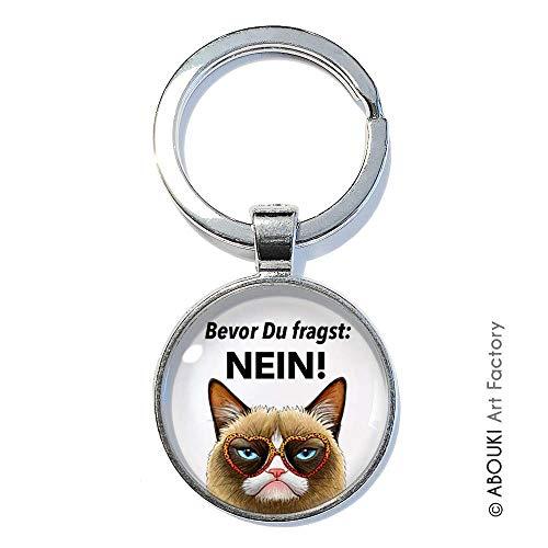 Katze Nein - ABOUKI   handgefertigter Schlüsselanhänger