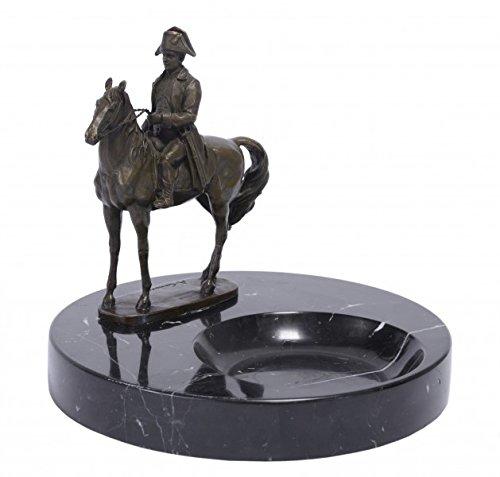Casa Padrino Luxus Jugendstil Marmor Aschenbecher mit Bronzefigur Napoleon auf Pferd Mod-X4