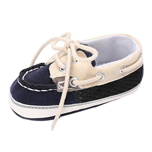 URSING Kleinkind gemütlich Frühling Herbst Baby Mädchen Jungen Frenulum Mode Krippenschuhe Schnüren warm Anti-Rutsch Weiche Sohle Sneaker (11, Marine) (Groß-mokassin Stiefel)