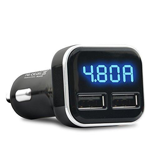Larcele Dual USB 4.8A Cargador de coche Adaptador Pantalla LED Para iphone Android Tablets y Más CZCDQ-10 (Negro)
