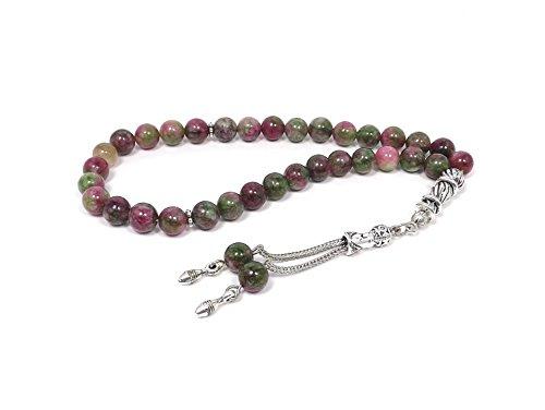 Hochwertige Gebetskette - Tesbih Tasbih Tespih Misbaha Subha 33 Perlen - Rosa Grün Naturstein