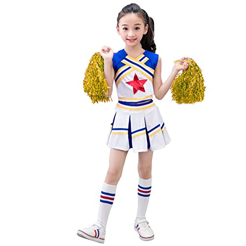 Dreamowl Mädchen Cheerleader Outfit Uniform Kostüm Cosplay Jugend Red Star Cheer Outfit (116/122) (Cheerleader-kostüm-jugend)