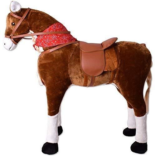 TE-Trend XXL Plüsch Pferd Stehpferd Standpferd Sattel Kinder Schaukeltier Spielzeug Reitpferd 82cm Sitzhöhe Hellbraun