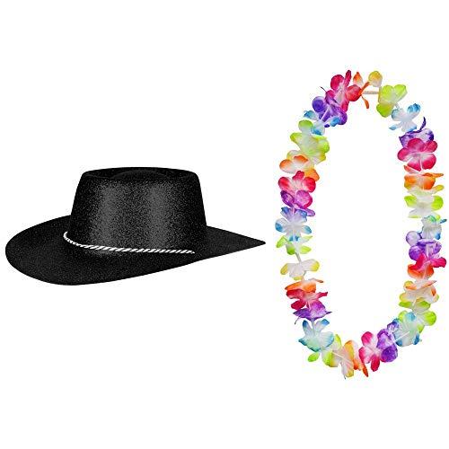 2er Set - Cowboy Hut Schwarz Glitzer und Hawaii Kette Fasching Masken Perücke Maske Blumenkette Pastellfarben Sheriff Texas