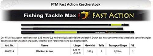 FTM Fast Action Kescherstock 1,45-2,10m - Kescherstange für Bootskescher, Kescherstab für Unterfangkescher, Griff für Angelkescher