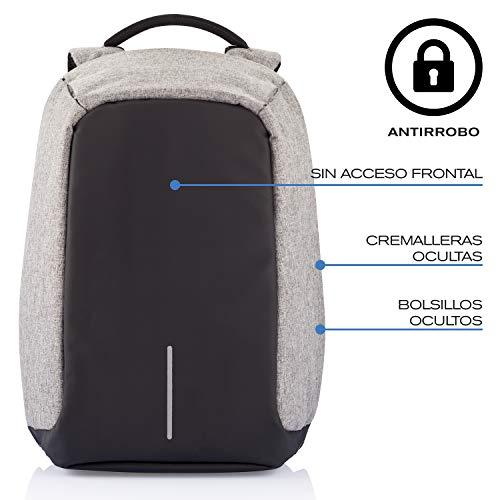 """XD Design Bobby XL 17"""" Anti-Diebstahl Laptop Rucksack Grau mit USB (Unisex)"""