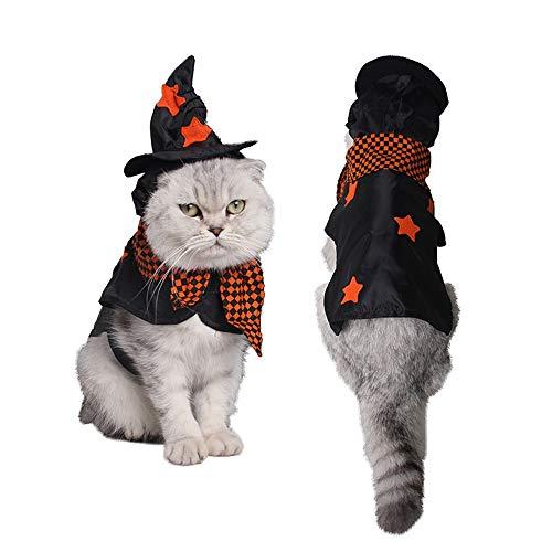 hte Kleidung Großer Hund Katze warm Halloween Plaid Kragen Mit Kapuze Party Kostüme Costume Pet Kleidung für kleine Hunde (Farbe : Schwarz, größe : M) ()