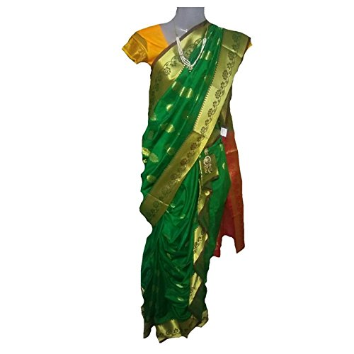JAY VITHAI TRADITION Mastani/Peshvai Nauvari Green Silk Saree Ready 2 Wear