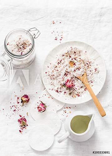 Wunschmotiv: Homemade edible coconut rose sugar scrub on light background, top view. Making home product cosmetics concept. Flat lay #200333691 - Bild auf Leinwand - 3:2 - 60 x 40 cm / 40 x 60 cm
