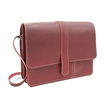 Made in Germany Damen Laptoptasche – Schultertasche KUALA LUMPUR aus rotem Echtleder inkl. Bio-Lederpflege von THIELEMANN