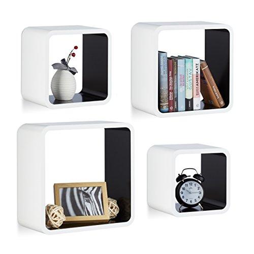 Relaxdays 10021777_362 set 4 mensole da parete cube per il soggiorno, forma quadrata, bianco-nero