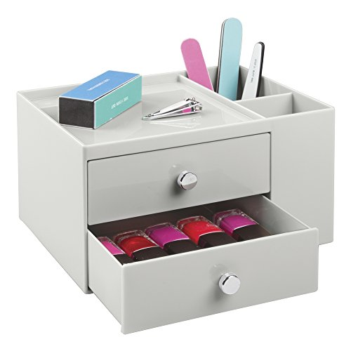 mDesign Caja organizadora con dos cajones – Fantástico organizador de cosméticos apilable...
