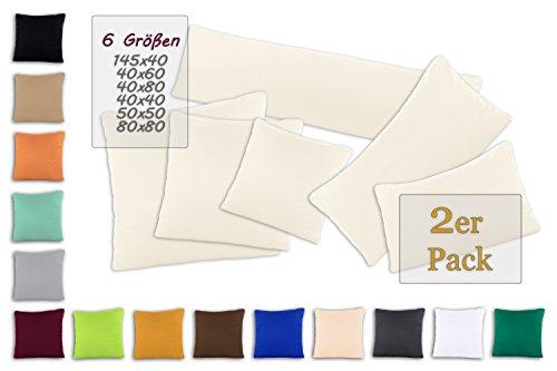 SHC Kissenbezug Doppelpack 40x80 cm in naturweiß / creme als Deco Kissen Zierkissen Couchkissen Sofakissen oder Kopfkissenbezug mit Reißverschluss aus 100% Baumwolle