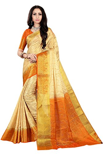 Nirja Creation Women's Cotton Silk Banarasi Saree(KAMAL) (Orange)