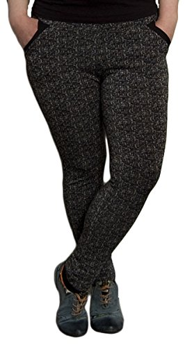 SL Damen Leggings Gemustert Schwarz Skinny Hose Muster Labyrinth Gummizug Gr. 3XL/4XL