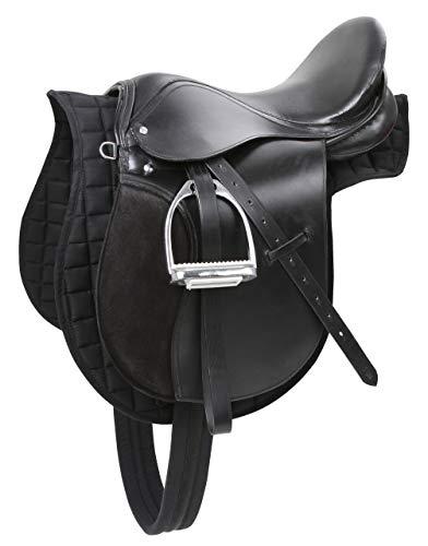 Kerbl 32196 Sattelset Pony inklusiv Gurt, Decke, Steigbügel, -riemen, schwarz